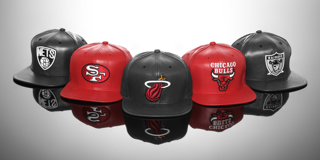 Mitchell & Ness Perforated Leather Snapbacks