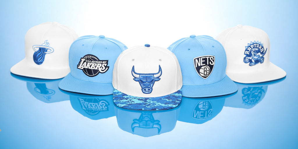 Mitchell & Ness Blue and White Powder Snapbacks