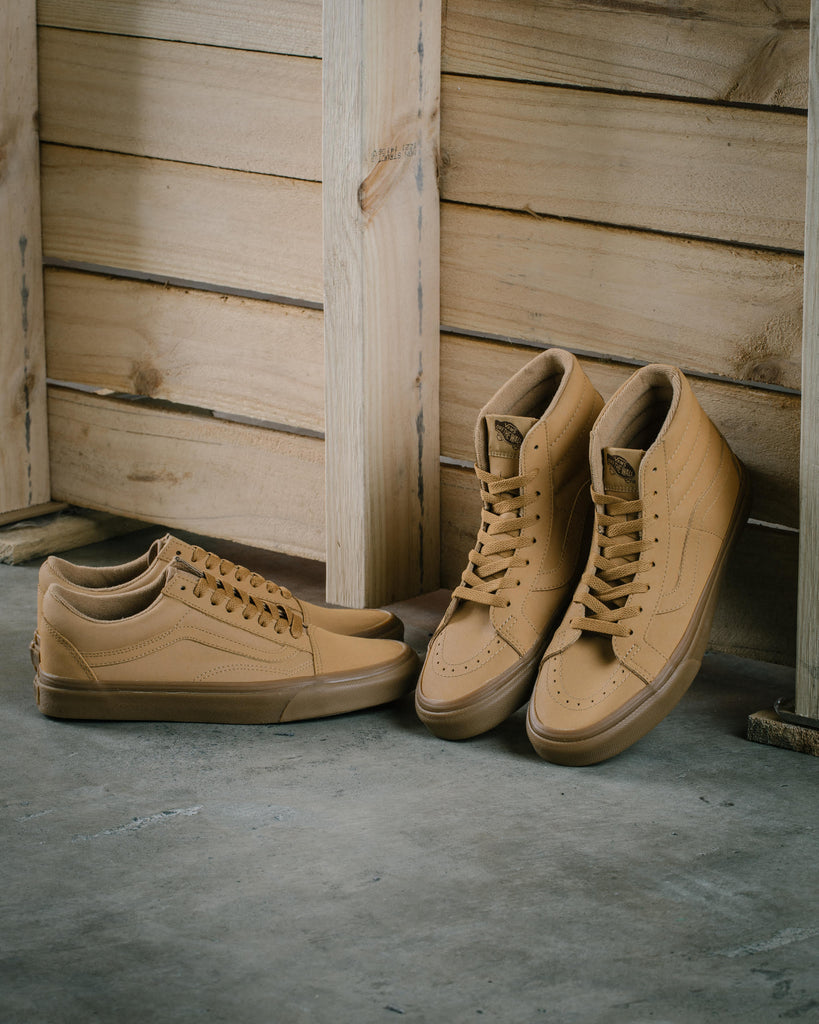 The SK8-HI and Old Skool silhouettes feature the Vansbuck upper with a light  gum midsole. 5f060828e