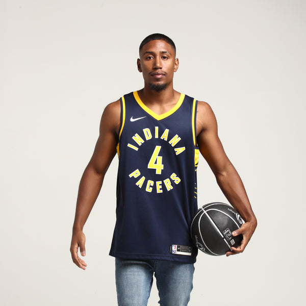 424786cc01b NIKE Indiana Pacers Victor Oladipo  4 ICON EDITION NBA JERSEY Navy Yel –  Culture Kings