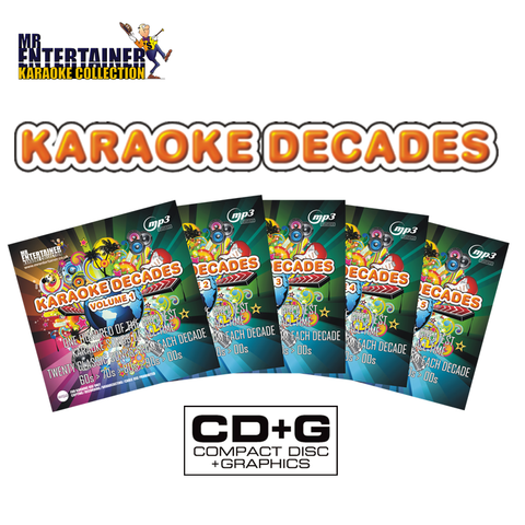 Mr Entertainer Karaoke Decades 500 Song CD+G Disc Set