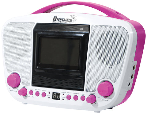 Mr Entertainer KAR122C Bluetooth Karaoke Machine PINK (SPECIAL OFFER- 10 FREE KARAOKE DISCS)