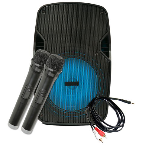 "Karaoke Speaker & Twin Wireless Mic Package - 12"" Speaker 80W"