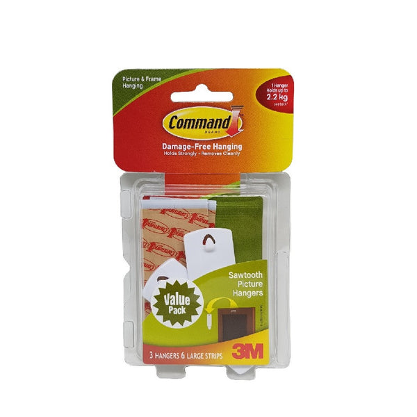 Command™ 17042VP Sawtooth Picture Hanging Strips 3PK 6STRP - 1HomeShop.sg