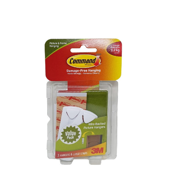 Command™ 17043VP Wire-Backed Picture Hanging Hooks 3PK 6STRP - 1HomeShop.sg