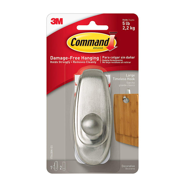 Command™ 17063BN Large Brushed Nickel Timeless Hook - 1HomeShop.sg
