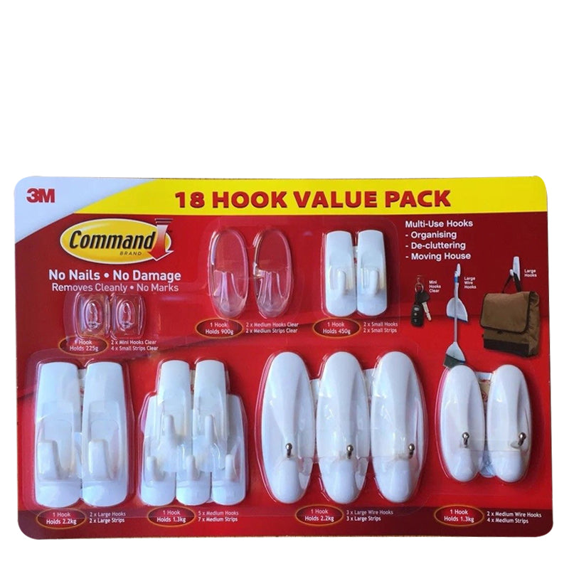 Command™ 17073BGVP Costco 18 Hooks Value Pack - 1HomeShop.sg