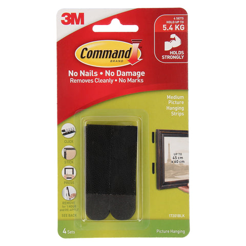 Command™ 17201BLK Black Medium Picture Hanging Strips 8STRP - 1HomeShop.sg