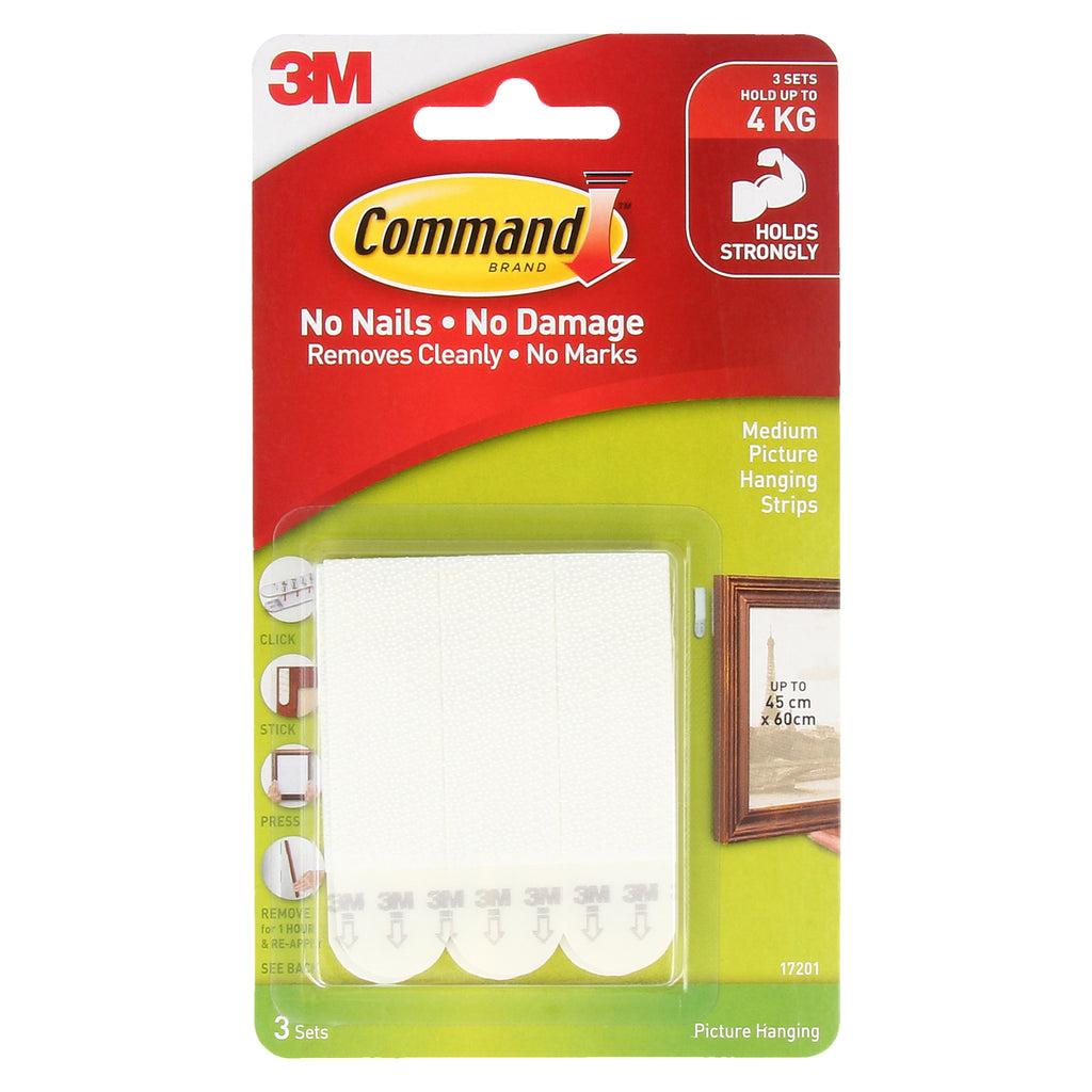 Command™ 17201 Medium Picture Hanging Strips, 3sets