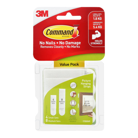 Command™ 17203VP Small and Medium Picture Hanging Strips 24STRP - 1HomeShop.sg