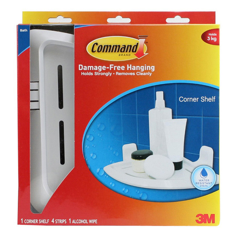 Command™ 17627B White Corner Shelf - 1HomeShop.sg