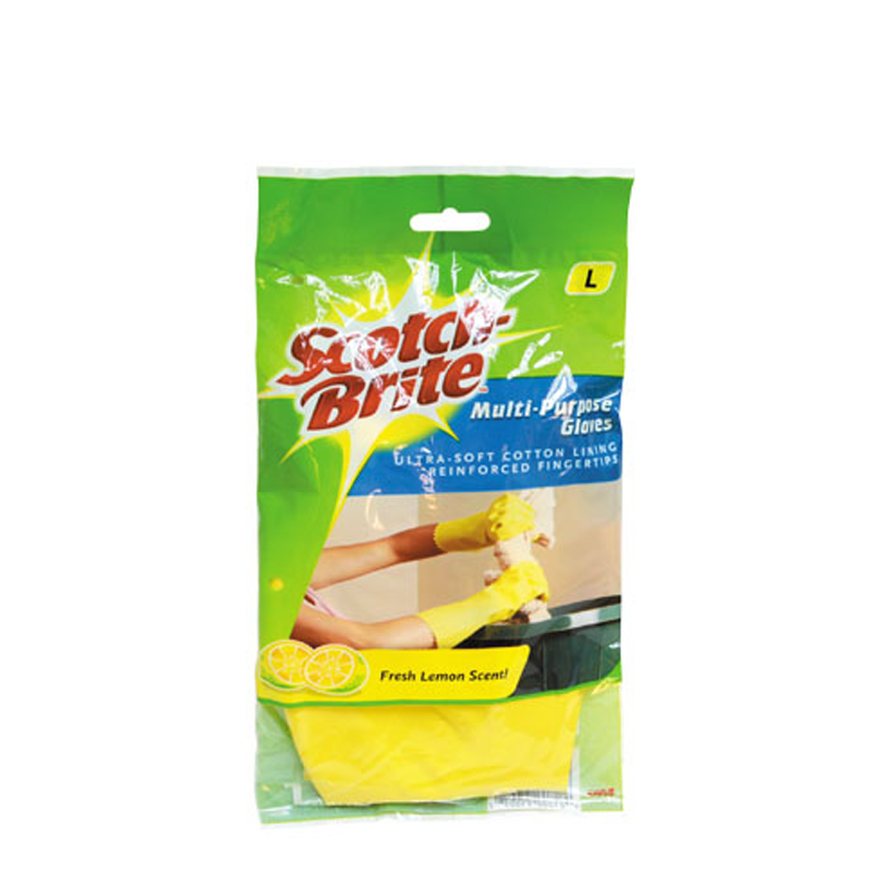 Scotch-Brite® 491L Multi-Purpose Yellow Gloves Large - 1HomeShop.sg