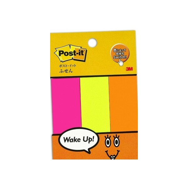 "Post-it® 500-P2 Page Marker Wake Up Colour, 1""x3"" 3Pd/Pk 50Sht/Pd 200Pk/Ctn"