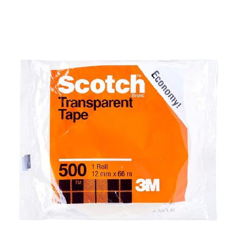 Scotch® 500 Utility Transparent Tape, 12mm x 66m - 1HomeShop.sg