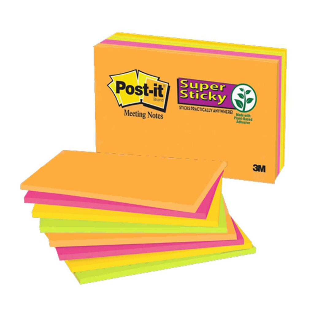 "Post-it® 6445-SSP Super Sticky Notes, 8"" x 6"", Electric Glow"