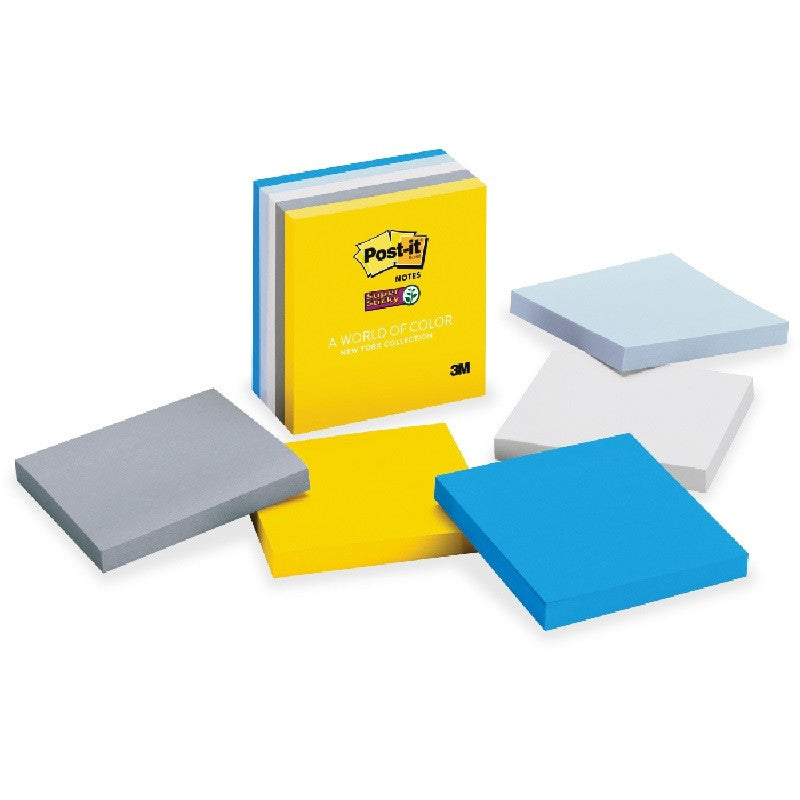 "Post-it® 654-5SSNY Super Sticky Notes, New York Collection, 5 Pads/Pack, 90 Sheets/Pad, 3x3"" - 1HomeShop.sg"