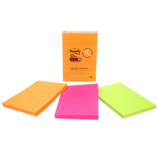 Post-it® 660-3SSUC Super Sticky Lined Notes, 4x6""