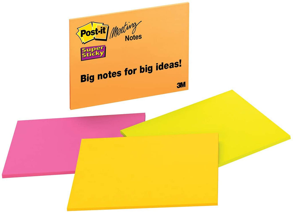 "Post-it® 6845-SSP Super Sticky Notes, 8"" x 6"", Neon"