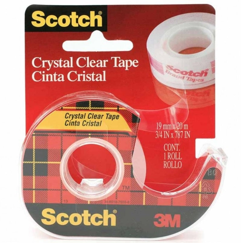 Scotch® CC1920D Crystal Clear Tape With Dispenser, 19MM X 20M - 1HomeShop.sg
