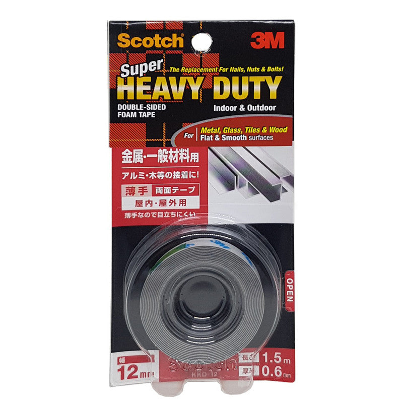 Scotch® KKD12 VHB™ Super Heavy Duty Multi-Purpose Mounting Tape White 12MMx1.5M - 1HomeShop.sg