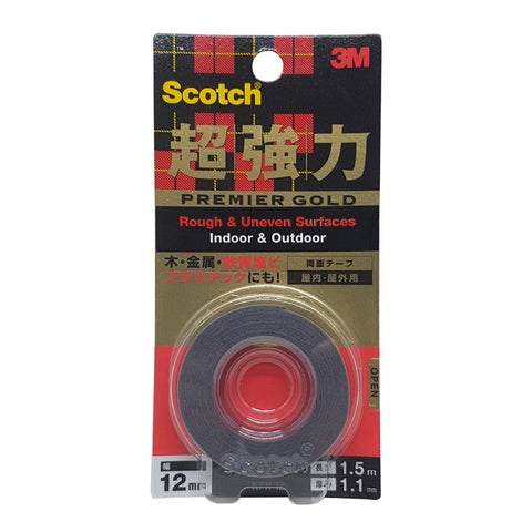 Scotch® KPR12 VHB™ Gold Series Extreme Heavy Duty All Purpose Rough Surfaces Mounting Tape Grey 12MMx1.5M - 1HomeShop.sg