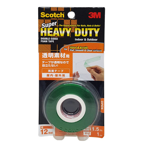 Scotch® KTD12 VHB™ Super Heavy Duty Transparent Surface Mounting Tape 12MMX1.5M - 1HomeShop.sg
