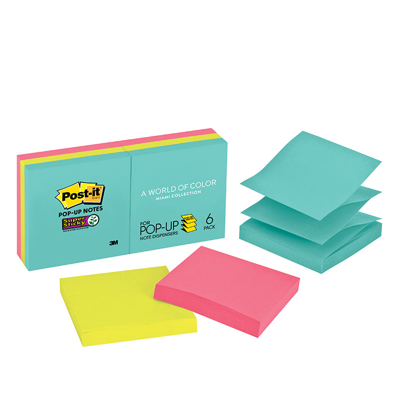 "Post-it® R330-6SSMIA Miami Colors Super Sticky Pop-Up Notes 3x3"" - 1HomeShop.sg"