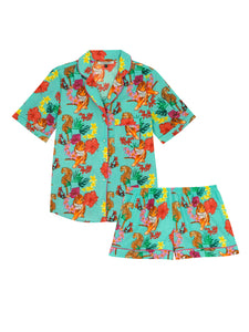 Ladies Shortie Trad Cotton Pyjama Set, Aqua Tropical Tiger