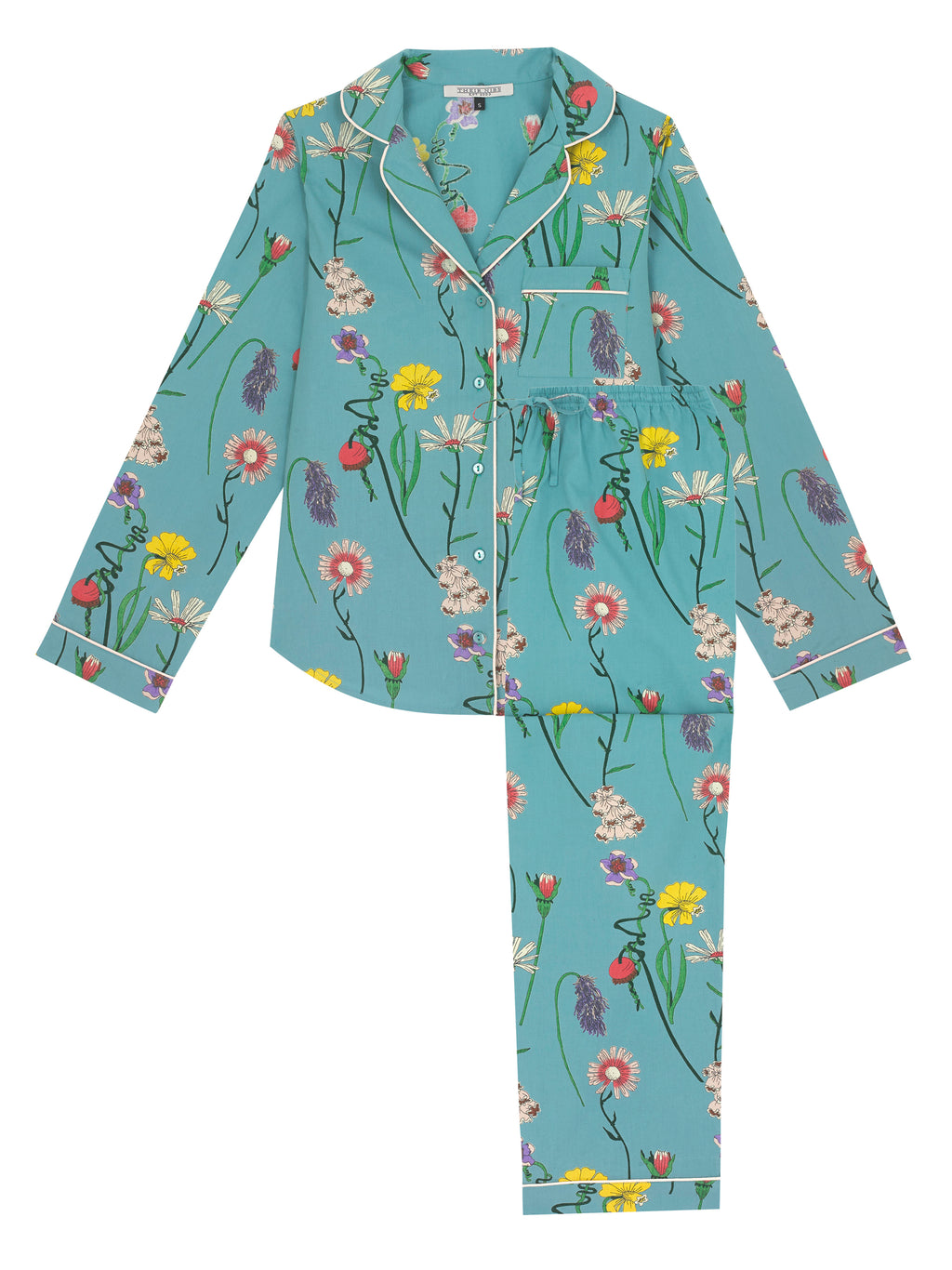 Ladies Traditional Cotton Pyjama Set, Field Flowers Print
