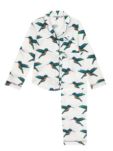 Ladies Traditional Cotton Pyjama Set, White Hummingbird Print
