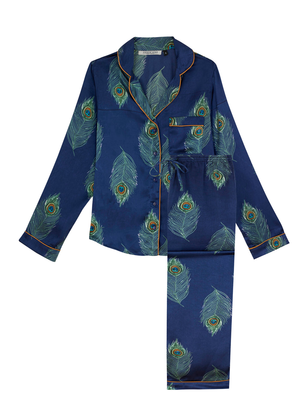 Ladies Traditional Satin Pyjama Set, Navy Peacock Feather