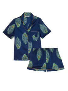 Ladies Traditional Satin Shortie Set, Navy Peacock Feather