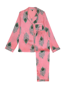 Ladies Traditional Satin Pyjama Set, Pink Peacock Feather