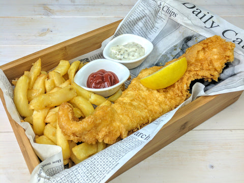 fish n chips wooden serving box