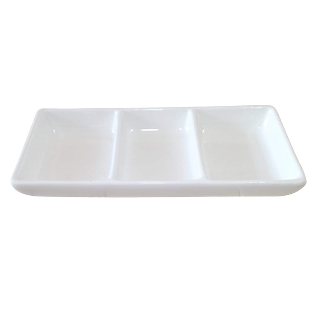 Black Rock Grill GP-8 White 3 Compartment Dipping Pot- Case of 8