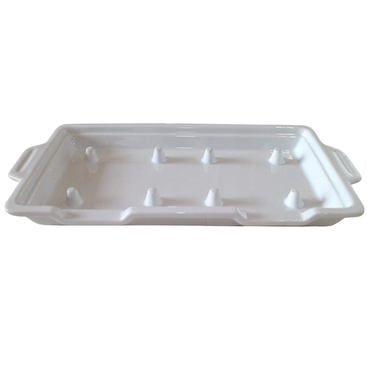 Black Rock Grill white porcelain plateter GP-3 White Porcelain Double Rock Platters- Case of 6