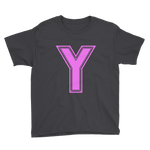 Kids Pink Y Logo Short Sleeve T-Shirt