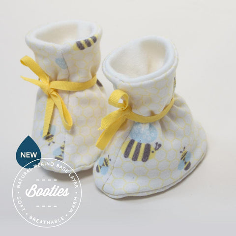 Organic Cotton & Merino Booties in Bumble Print