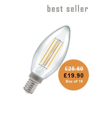 Candle Filament LED Light Bulb 4W Clear