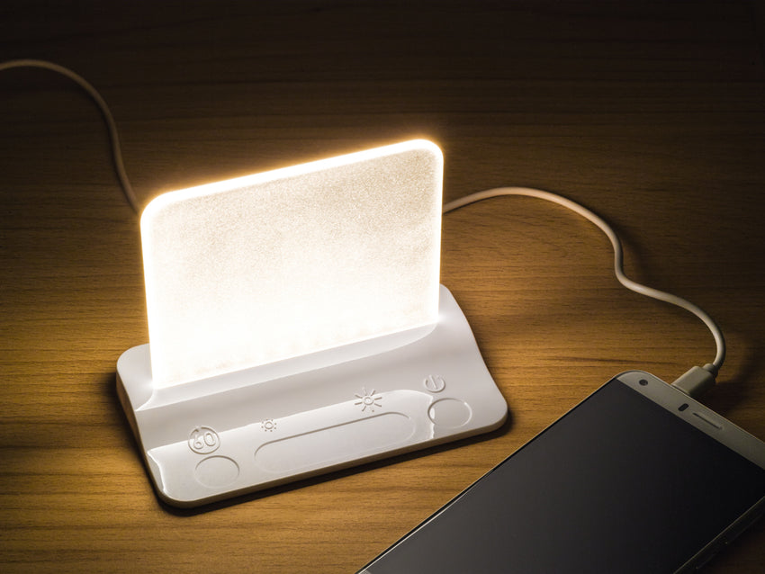 Integral-LED USB Powered Bedside Table Light with USB Charger - Pod Lamps