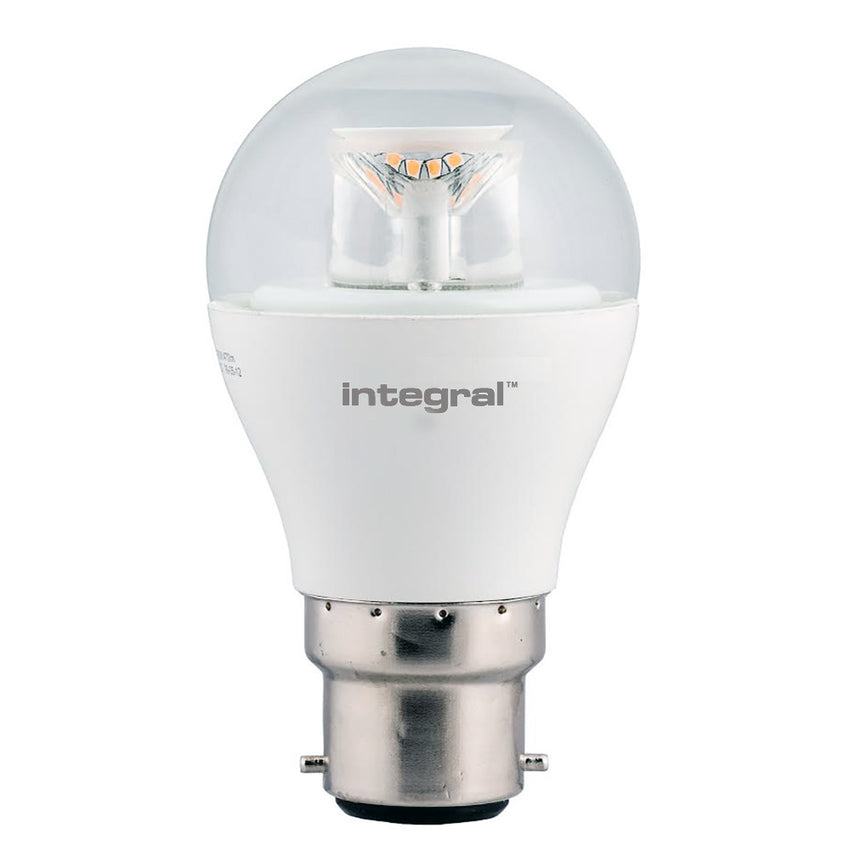 Integral LED Clear Golf Ball 6.5W B22 Dimmable 2700K Warm White - Pod Lamps