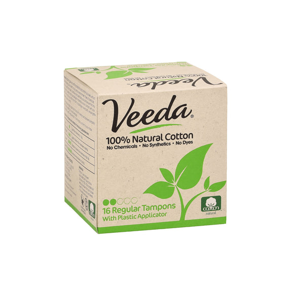 natural period protection with veeda natural cotton tampons
