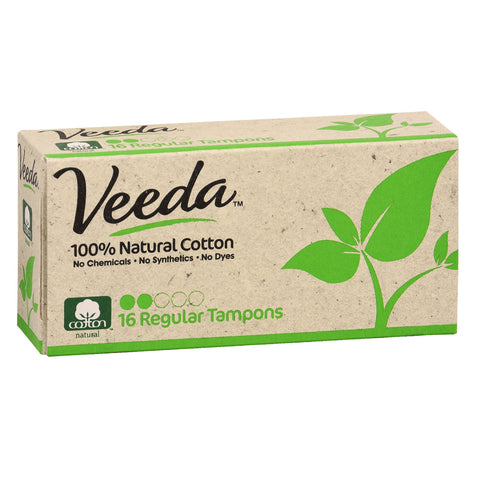 100% Natural Cotton Regular Tampons, Non-Applicator, 16 Count