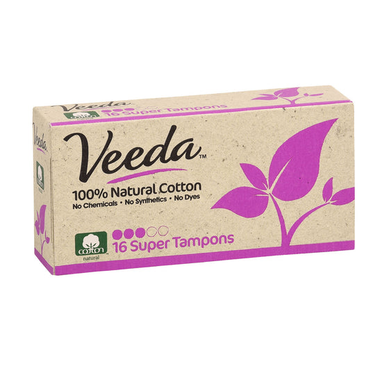 100% Natural Cotton Super Tampons, Non-Applicator, 16 Count