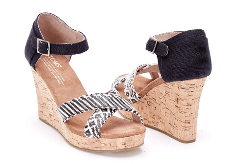 TOMS Black Woven Cork Strappy Wedges