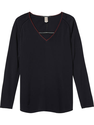 Maison Scotch Relaxed Ladder V neck Top