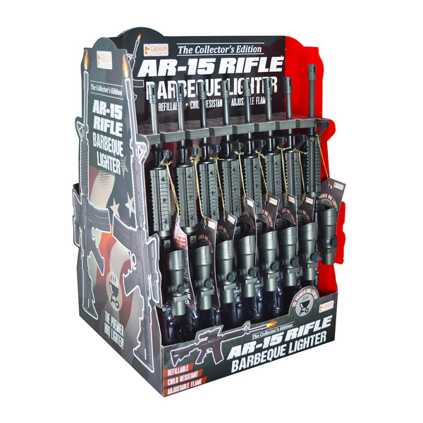 The AR-15 Rifle BBQ Lighter is easy to use, refillable, child resistant, and has an adjustable flame. It comes in a 16 piece display.