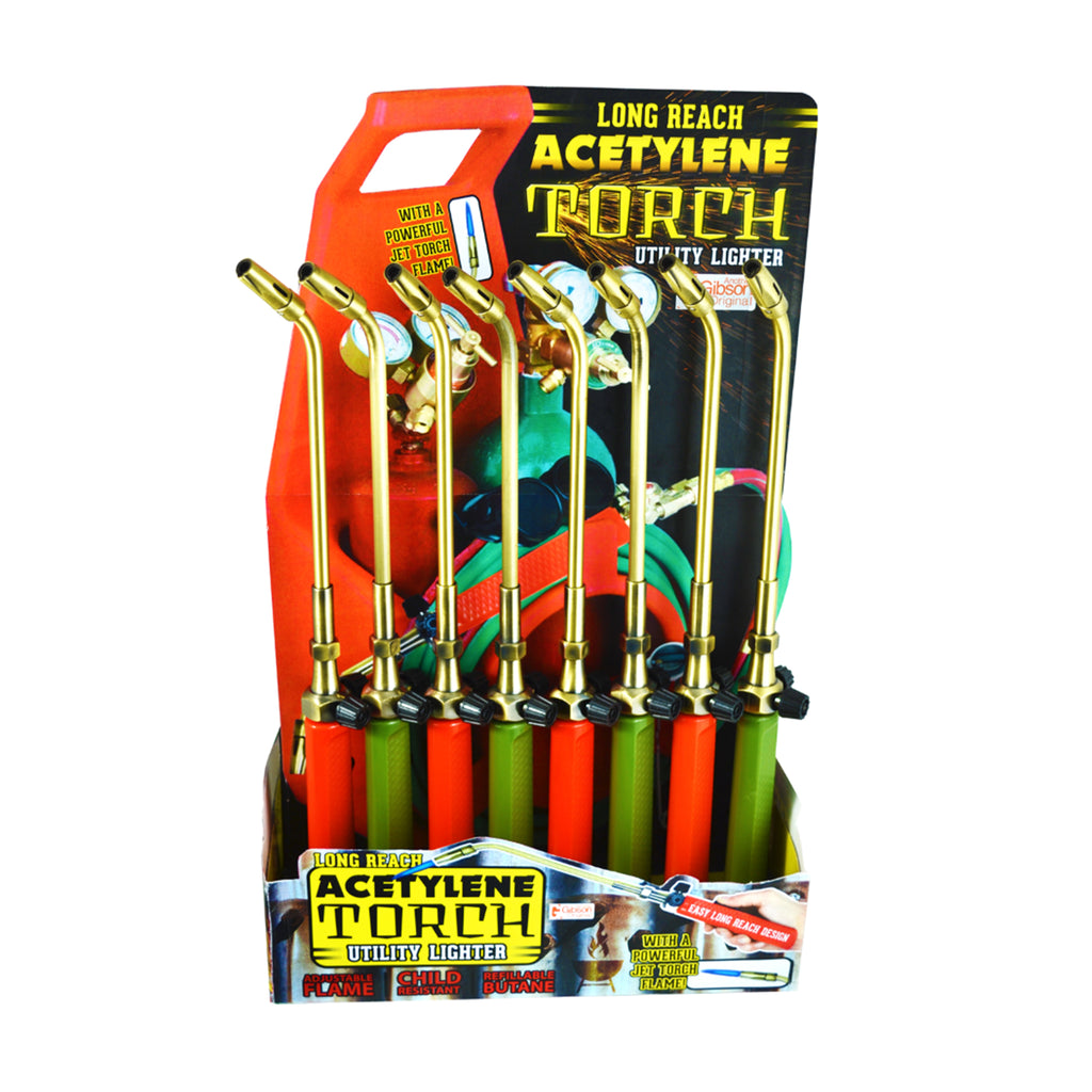 The Gibson Acetylene Torch Utility lighter is a long reach multipurpose lighter shaped like a real acetylene torch. Comes in a 16 piece display, in orange and green, shown in red and green assortment.