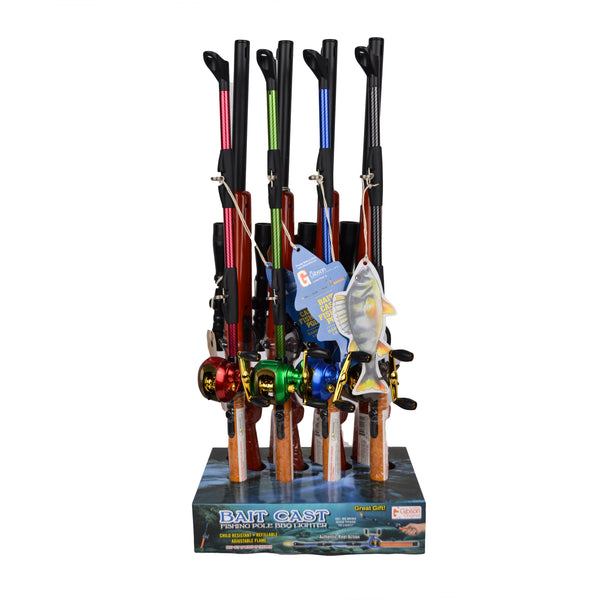 The Bait Cast Fishing Pole is a multipurpose BBQ lighter shaped like a bait cast fishing pole with authentic spinning reel action. The Bait Cast Fishing Pole BBQ Lighter comes in four brilliant colors and is child resistant, refillable, with an adjustable flame.