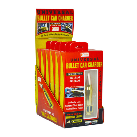 The Gibson Bullet Dual USB Car Charger is a must have in the digital age! This uncommon golden bullet shaped car charging device fits into any automotive AC outlet and features two charging bays. This nifty design looks like a realistic bullet with the lid is placed on the tip. Makes a fun gift!